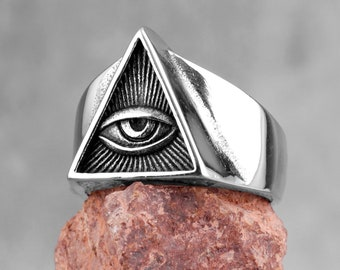 Eye of Providence Glass /& Silver Plated Adjustable Ring Third Eye All Seeing Eye