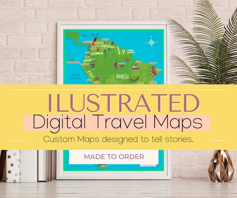 Custom-made Illustrated Travel Map. 7 Stop/Illustration Map. image 0