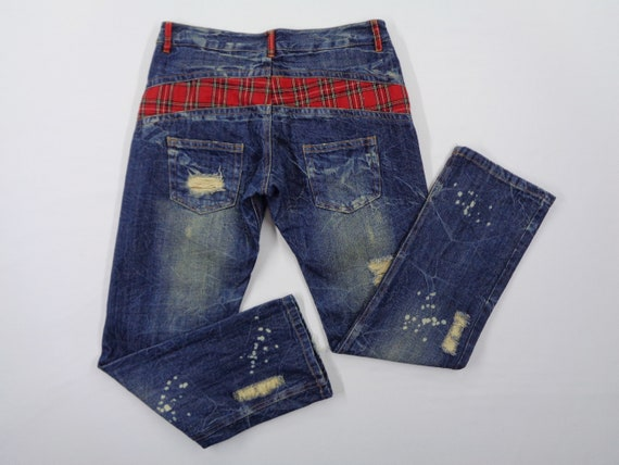 Patchwork Jeans Vintage Distressed Patchwork Jeans