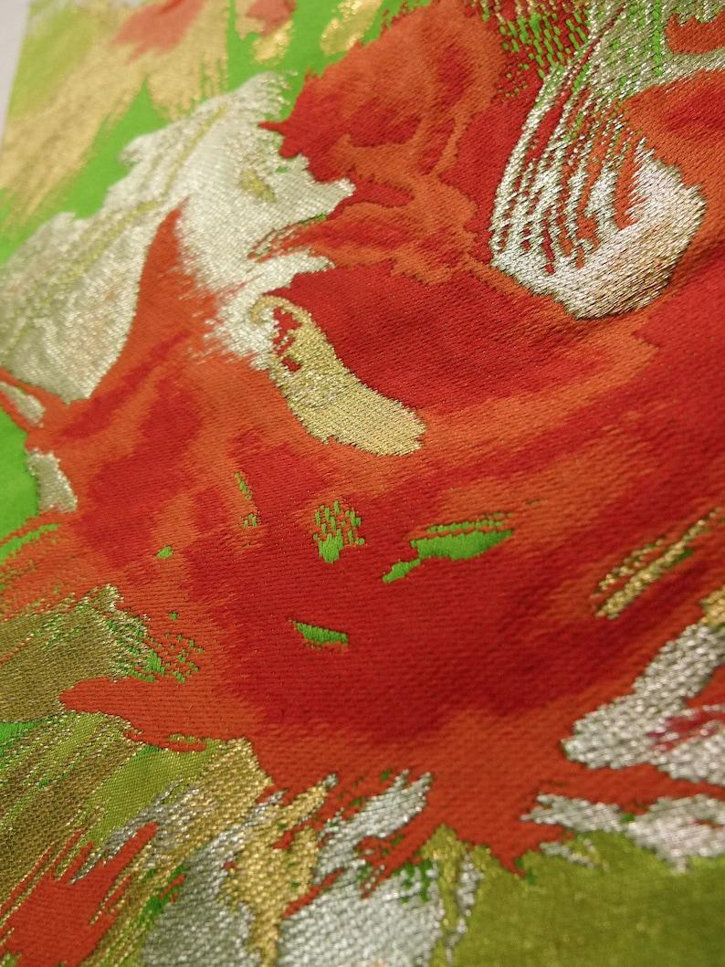 K0224P Vintage Japanese Kimono   Yellowish Green FUKURO OBI sash Abstract pattern Silk. Grade B