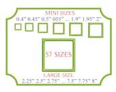 Mini Square Satin Stitch Frame Applique Embroidery Shield Design Machine Shape Name Embroidery Designs Instant Download