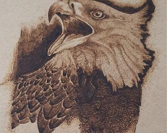 Wood burnt Eagle