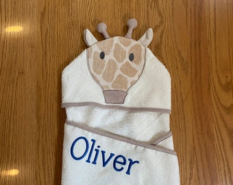 Baby-Towels-Personalized-Kids-Girls-Giraffe-Love Pink-Bath-Beach-Hooded-Terry-Towel-Swim-Suit-Cover-Up-Swimwear-Child-Toddler-Shower-Gifts
