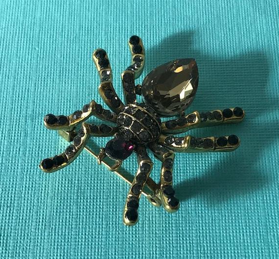 Rhinestone spider brooch, gold spider pin, purple