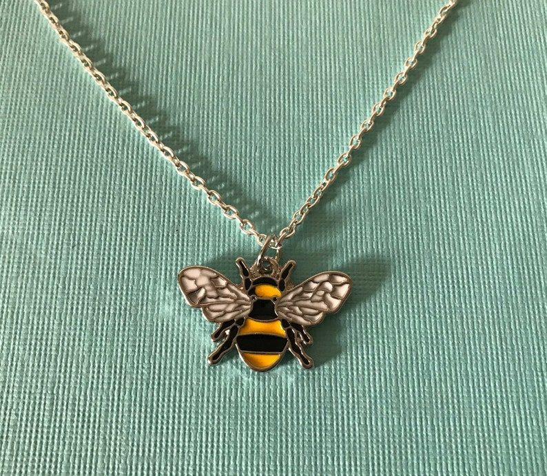 bee pendant yellow and black bee charm charm necklace silver chain 20 bee necklace bee jewelry Bumble bee necklace bee necklace