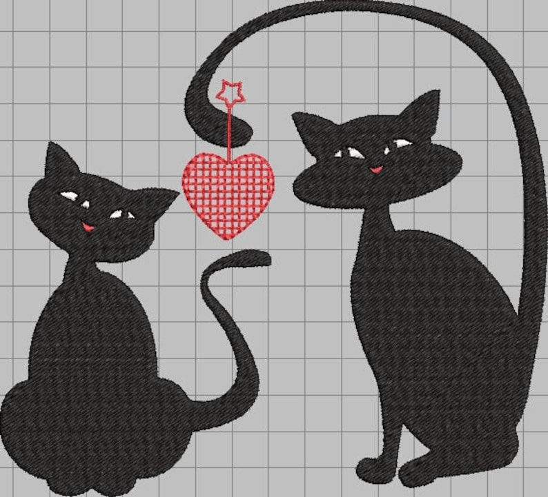 embroidery design Cats holding hearts