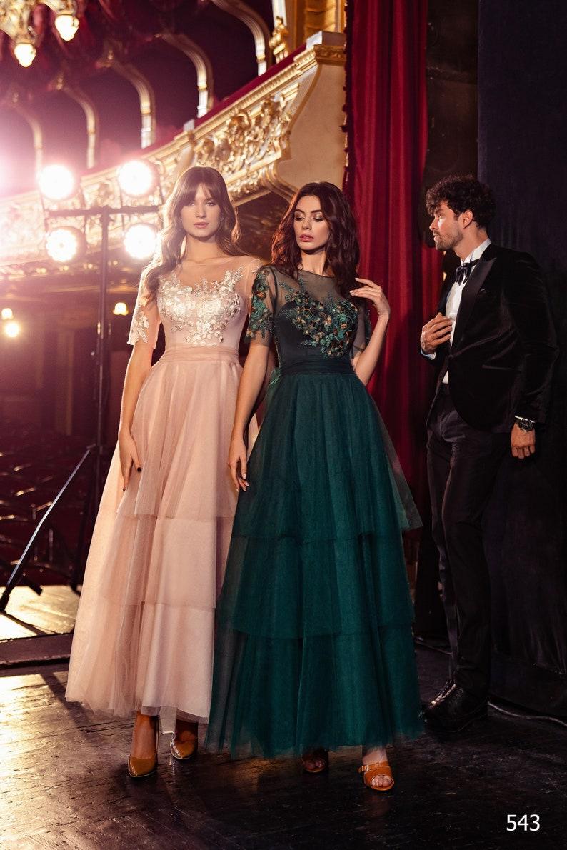 Tulle Bridesmaid Dress 3/4 Sleeves Dress Beaded Illusion image 0
