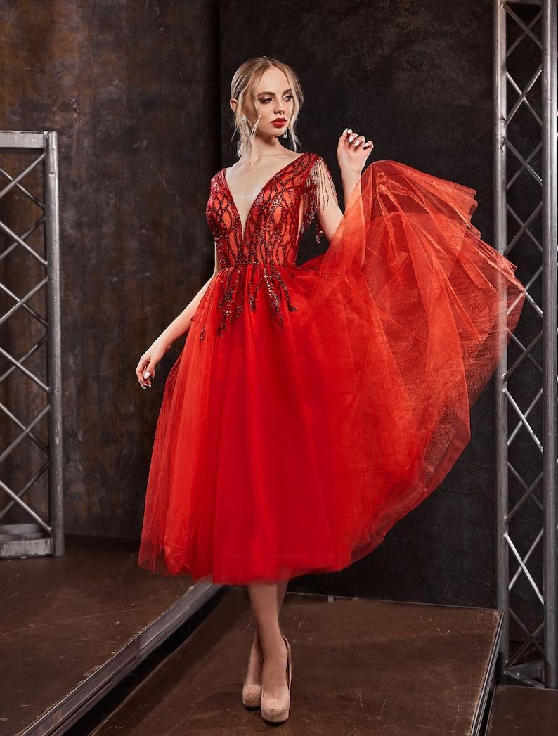 Red Dress Prom Dress Sleeveless A Line Wedding Dress Deep V image 0