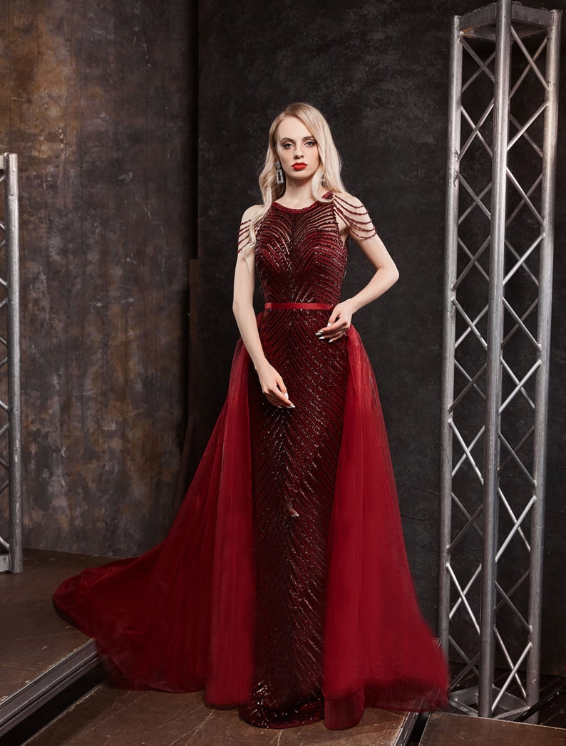 Red Embroidery Lace Dress Evening Dress Fabric Prom Elegant image 1