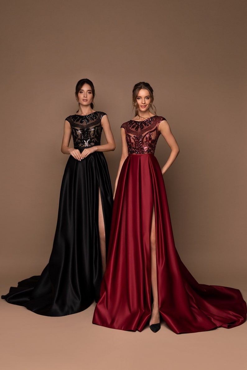 A-Line Prom Dress Evening Dress Elegant Gown Satin And Lace image 0