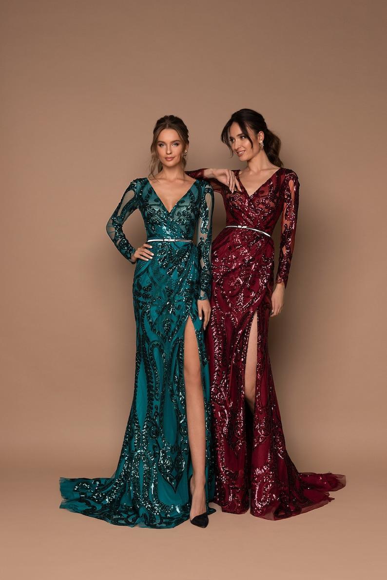 Mermaid Evening Gown Green Dress Bohemian Dress Prom Dress image 0