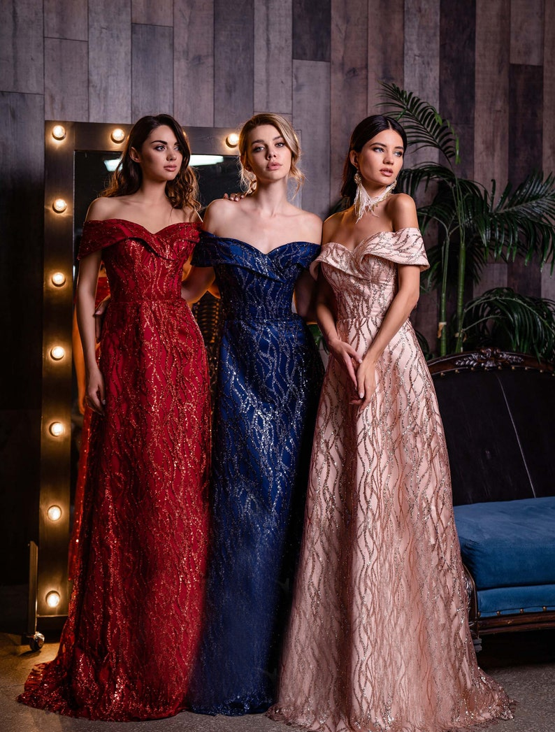 Elegant Women Dress Evening Dress Off Shoulders Evening image 2