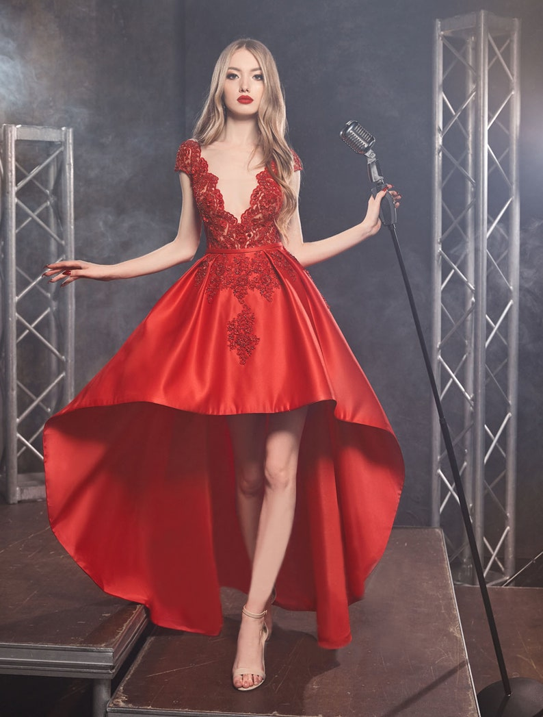 Hight-Low Dress Style Deap V Neck Sparkly Dress Evening image 0