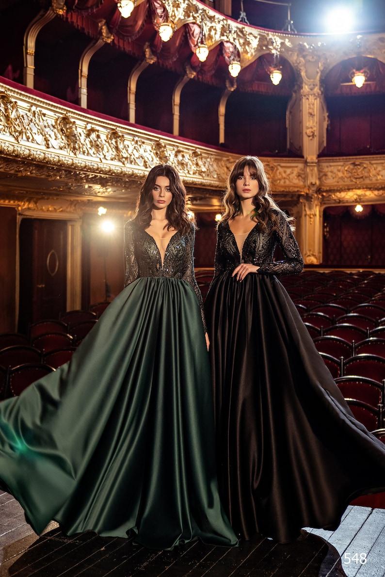 Black V Neck Evening Dress Lace Dress Bridesmaid Dress Silk image 1