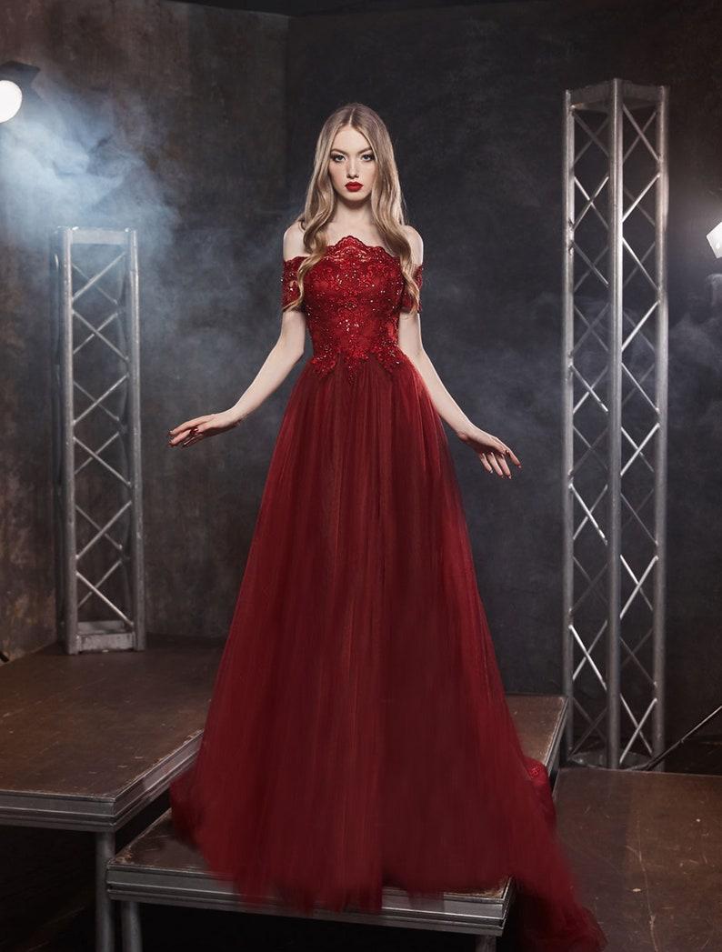 Off Shoulder Dress for Wedding Guest Tulle Dress for Women image 0
