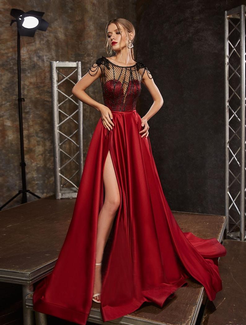 Color Bridal Gown Sexy V-Neck Dress Low Back Women Dress image 1