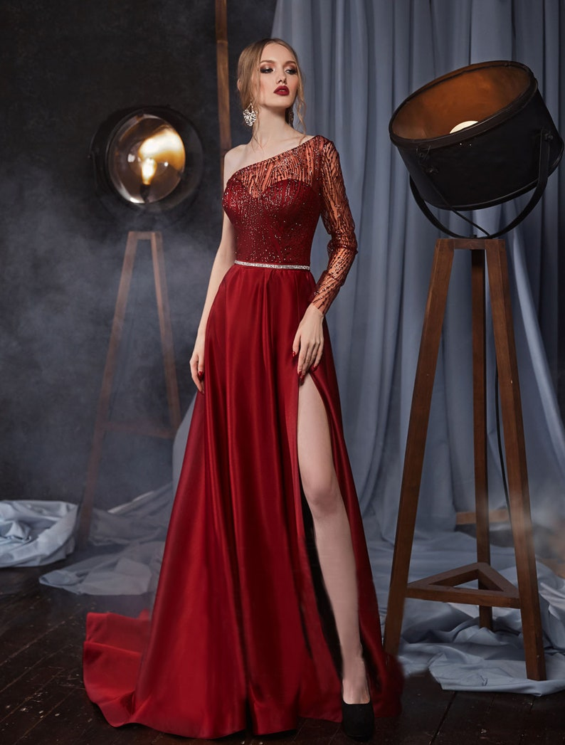 Long Prom Dress One Shoulder Evening Dress Backless Dress image 1