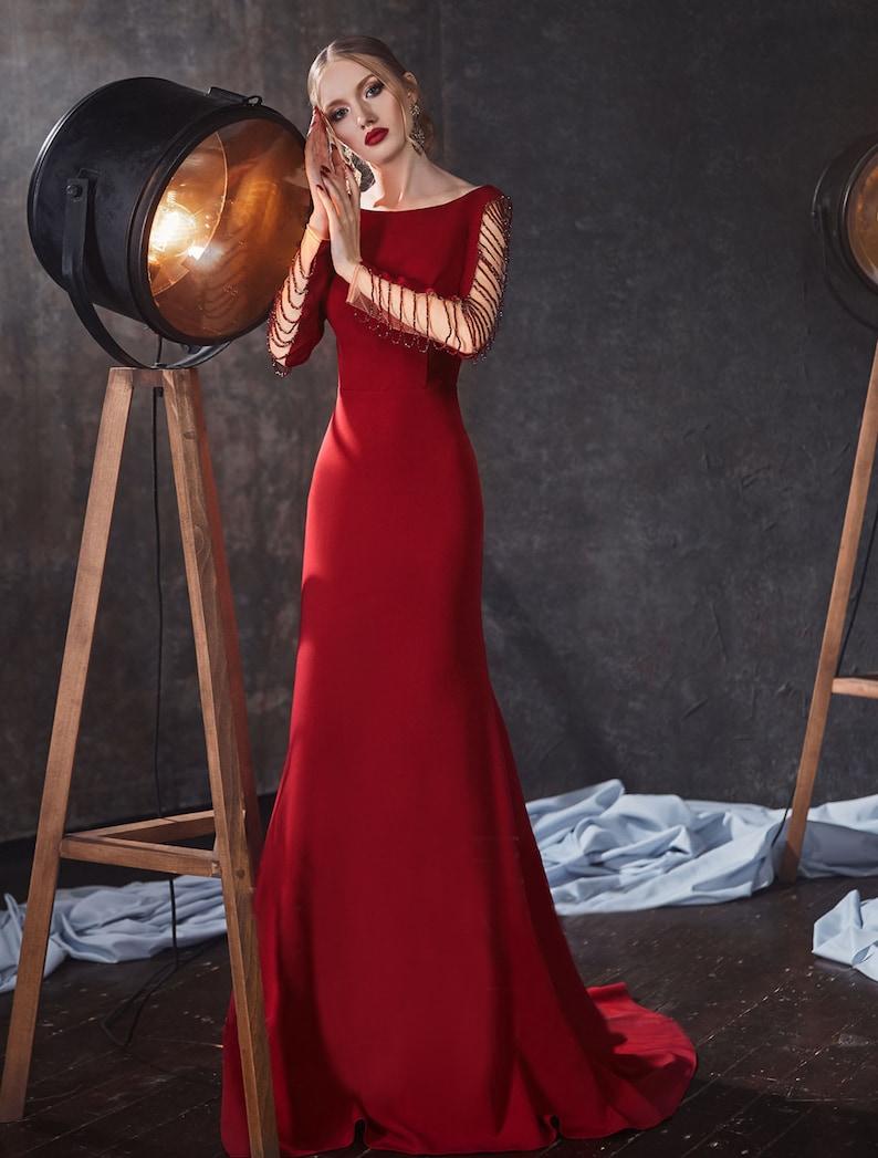 Elegant Open Back Mermaid Bridesmaid Dress Long Boho Lace image 1