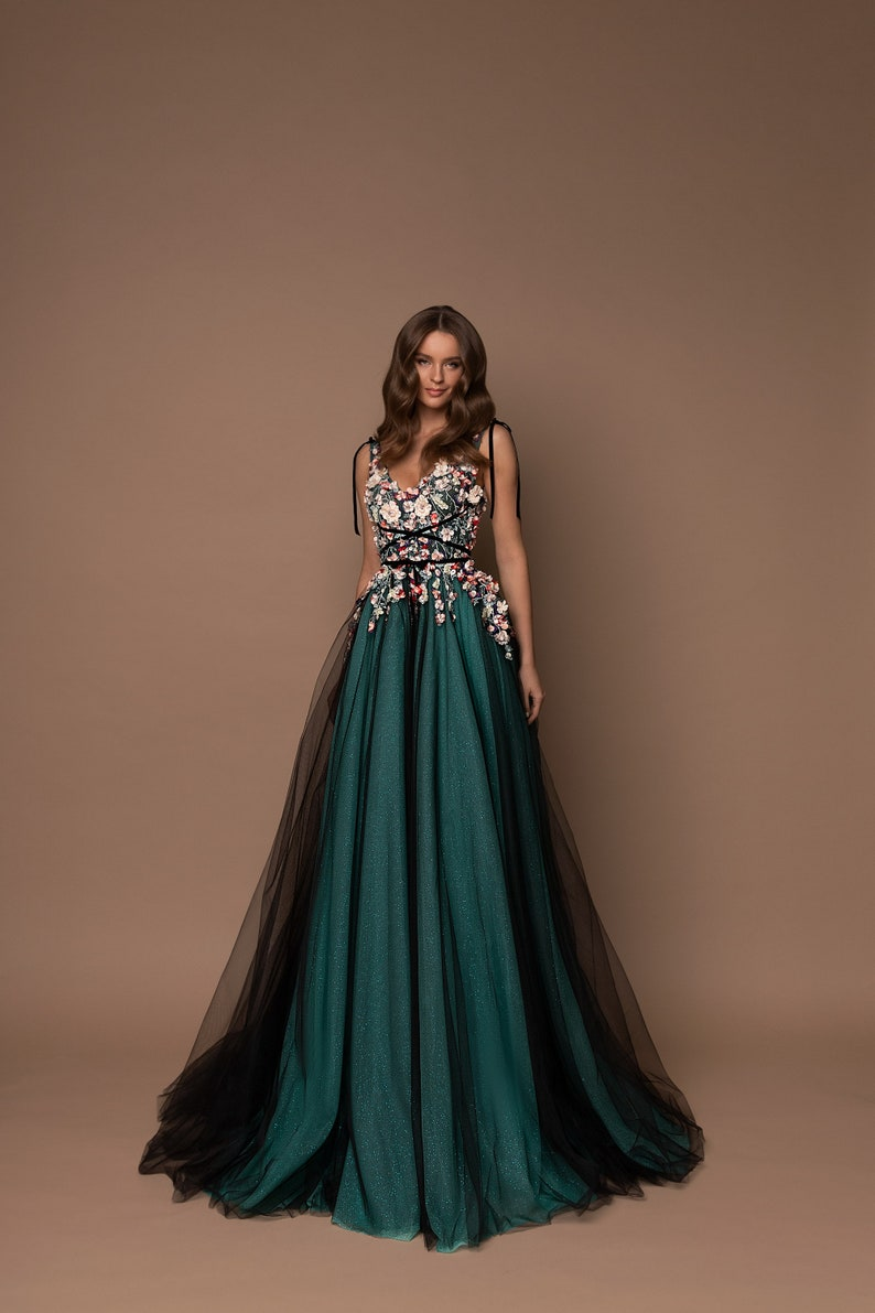 Chiffon Skirt Prom Dress Floral Dress Alternative Fashion image 2