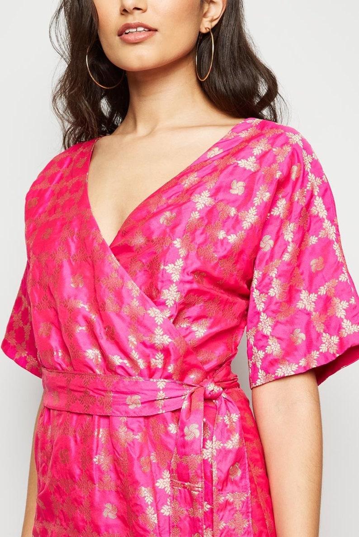 Wrap Cross over Maxi Dress With Sash From Nesavaali London