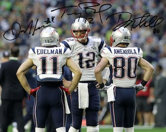 New England Patriots Super Bowl 53 Tom Brady and Julian Edelman Framed 11 x 14 Matted Collage Framed Photos Ready to Hang