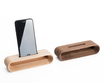 Wooden Phone Stand with Amplifier Speaker - Walnut, Maple