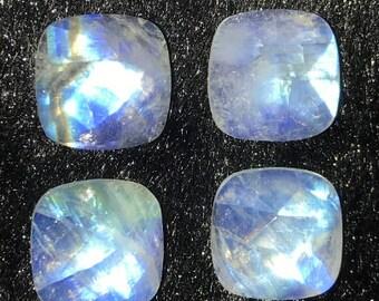 Rainbow Moonstone Cabochon-Moonstone Cabochon-Natural Rainbow Moonstone Faceted Fancy Cabochon Slices-32x14x5 MM-Wholesalegems-BS14906