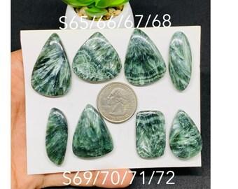 Top Quality Green Seraphinite Gemstone Hand Polish Loose Stone For Jewelry 26 Ct 31X22 mm #158 Natural Flashy Seraphinite Cabochon Rare!