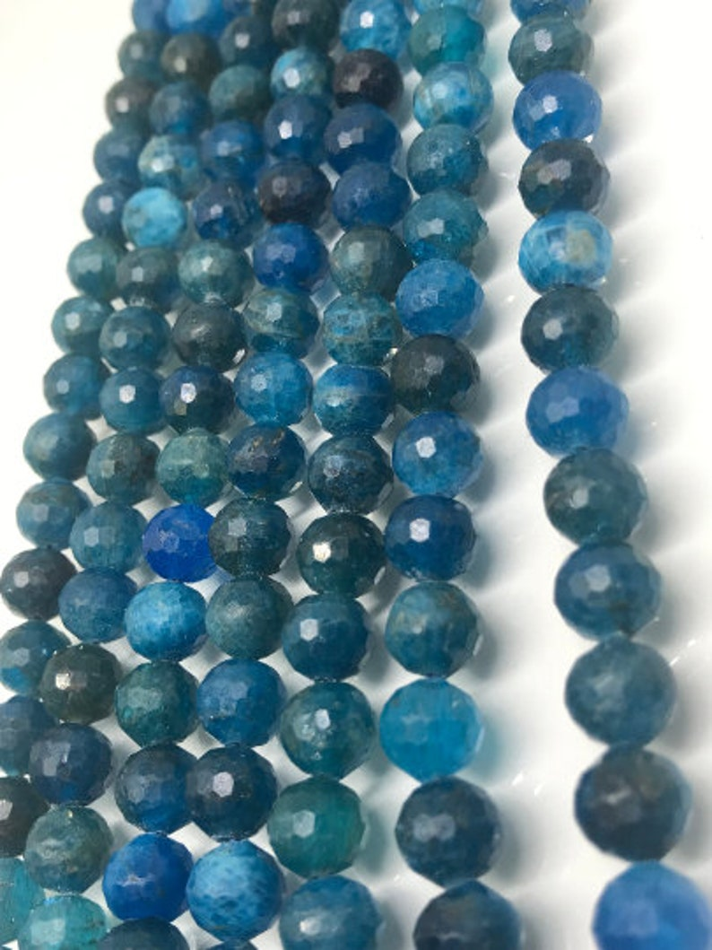 micro faceted beads length 16 Natural Faceted Gemstone Perfect Round Beads- 7MM Neon Apatite Faceted Round