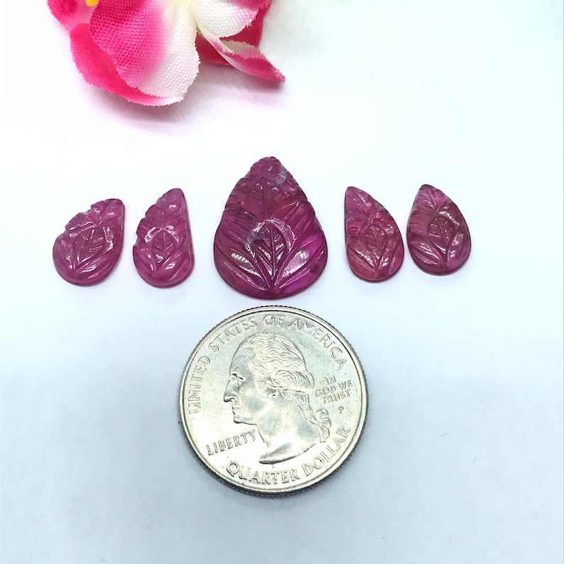 code#4 Size 15X12 Centre,8X14 8X13MM Ruby Carving Cabs-Pack of 5 Pieces Glass Filled Ruby Carving Leaf Shape Cabs- weight 32.5-CT