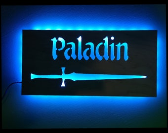 EverQuest Inspired Paladin LED Lit Wall Sign