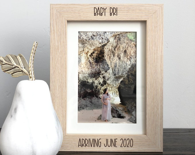 Engraved Baby Announcement Custom Engraved Date Picture Frame Pregnancy Picture Frame Keepsake Baby Arriving Baby Coming