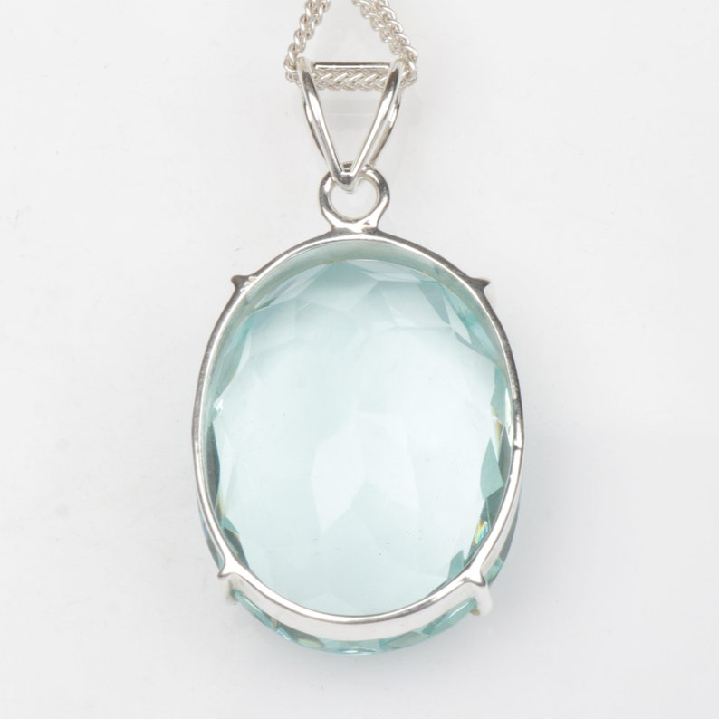 12.70 Gram Oval Cut Blue Aquamarine Loose Gemstone Handcrafted in 925 Sterling Silver November Birthstone