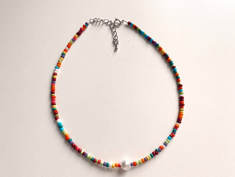 Dainty Pearl Choker Pearl Necklace Colorful African Seed Bead Jewelry Seed bead Choker COLORFUL PEARL CHOKER Seed Bead Necklace