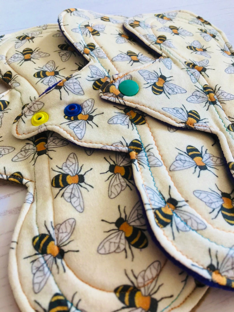 Menstrual Sanitary Pad zero waste period ORGANIC reusable period pad Cloth Pad with Bees washable reusable cloth pads