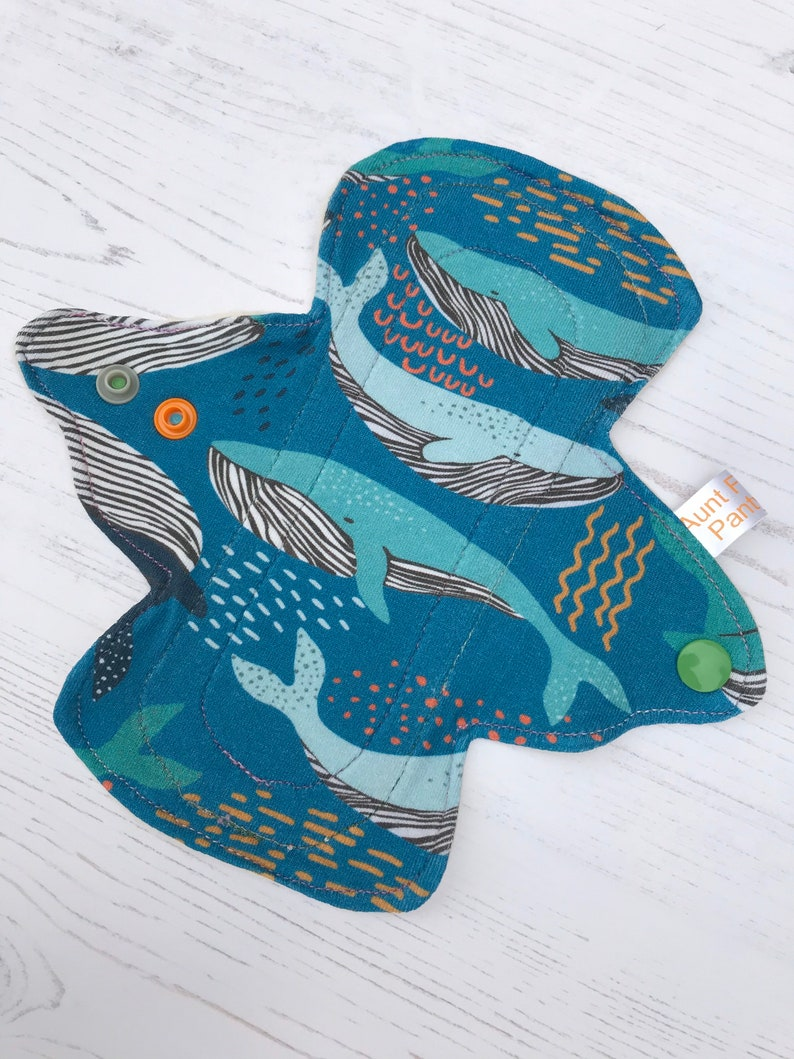 Organic Cloth Period Pad with Blue Whales Print Sea Themed Cloth Pad Blue Period Pad Washable Reusable Fabric Pad Zero Waste Period
