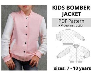 Children's Bomber Jacket PDF Sewing Pattern (Size 7 yrs to 10 yrs)