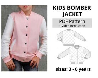 Children's Bomber Jacket PDF Sewing Pattern (Size 3 yrs to 6 yrs)