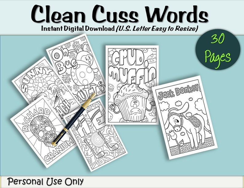 30 FUNNY ADULT COLORING Pages Swear Words Instant Download Etsy