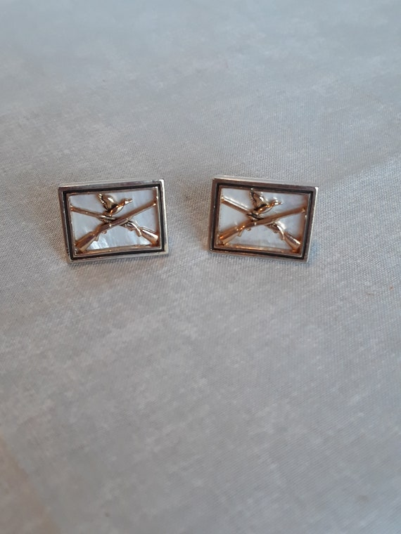 Vintage 1950s Swank Duck Hunt Cufflinks Gold Tone White Mother-of-Pearl MOP
