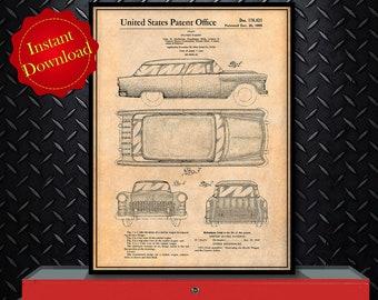 1955 Chevrolet Nomad Wagon Patent Digital Download, Garage Art
