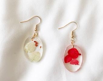 Oval Earrings Purple Earrings Flowers Spring Floral Faux Leather Earrings Summer Teardrop {1.5} Flower Earrings Flower Earrings