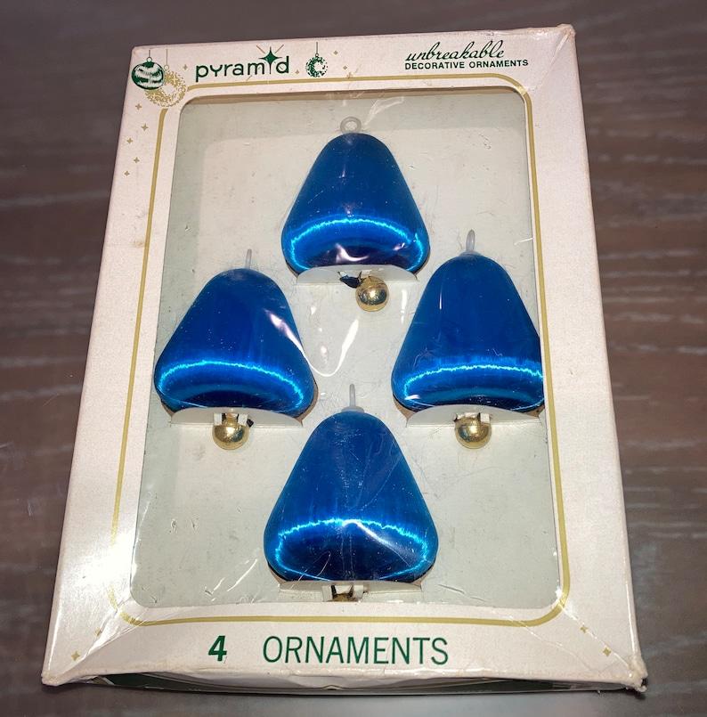 Blue Silk String Bell Ornaments Blue Satin Ornaments Pyramid Satin Bells Bell Ornaments 4 Vintage Pyramid Satin Sheen Ornaments