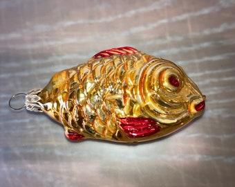 Vintage West German Fish Ornament, Blown Glass Gold Fish Ornament, Large Gold Fish Ornament, West German Glass Fish, Fish Ornament, Mint