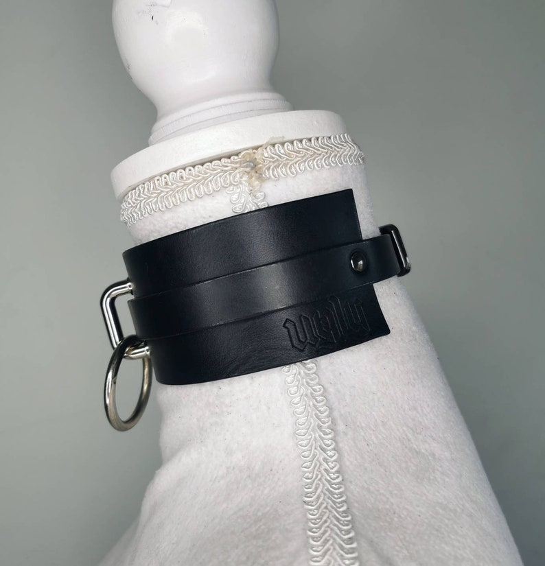 gothic REBELION leather choker O-ring big collar bdsm dark alternative style -luxury leather handcrafted in Italy by Ugly