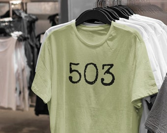 503 Short-Sleeved T-Shirt! Show your love for Portland and/or Oregon! 100% cotton. Preshrunk. Classic fit.