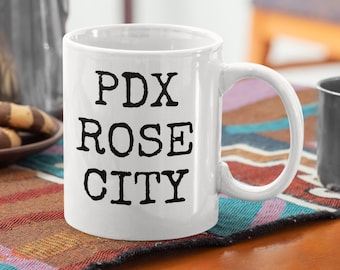 PDX ROSE CITY coffee, tea and soup mug. Classic 11oz size and shape. For left-handed peeps.