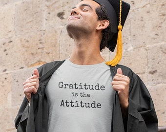 Gratitude is the Attitude preshrunk short-sleeved t shirt made with 100% cotton.