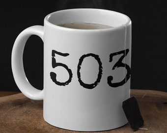 503 coffee, tea and soup mug. Classic 11oz size and shape. For right-handed peeps.