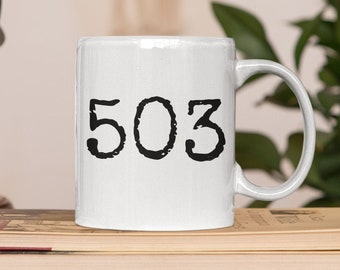 503 coffee mug for Portland Oregon friends and fans. This Portland lovers coffee mug is a left-handed coffee mug.